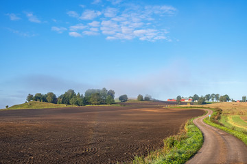 Agricultural land view with a winding country road