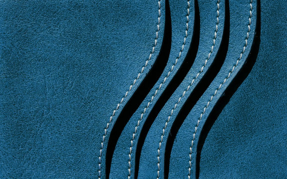 blue leather of wallet with card slot texture