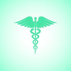 caduceus medical care icon vector