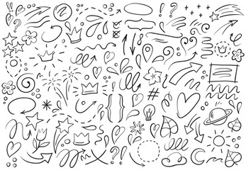 Decorative hand drawn shapes. Outline crown, doodle pointer and heart frame. Doodles lines elements, ink line arrow and flower calligraphy sign sketch. Isolated vector illustration symbols set