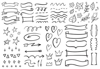 Vintage decorative doodles. Hand drawn ribbon, outline arrows and doodle holidays cards decorations. Flower, heart, star and curved lines black ink ornate. Isolated vector symbols set