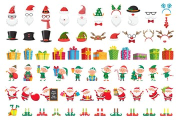 Cartoon Christmas collection. Xmas hats and New Year gifts. Santa Claus and elves helpers characters. Santas character mask, gift box, elfs legs and reindeer hat. Isolated vector icons set