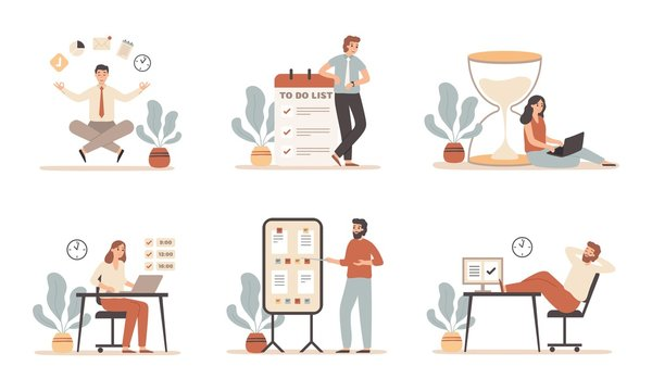 Work time management. Scheduling tasks, deadline strategy and office people working with laptop computer. It office productivity timing management. Flat vector isolated illustration icons set