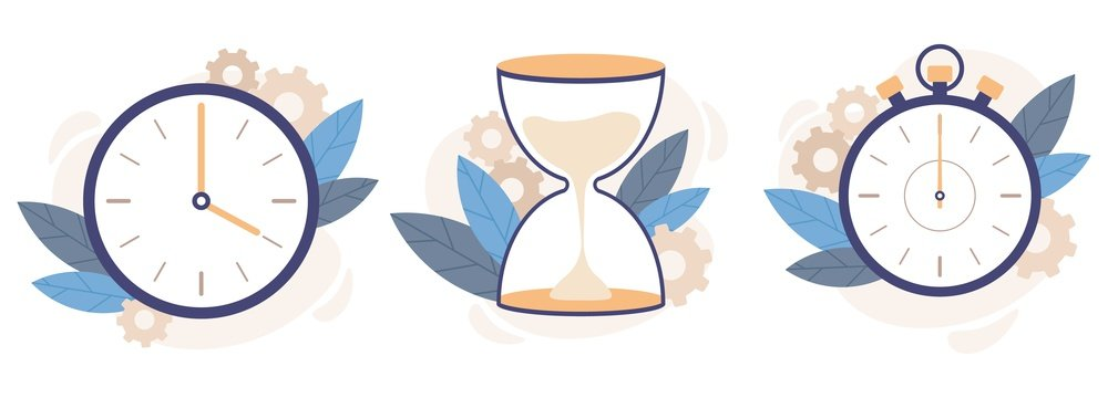 Clock, hourglass and stopwatch. Analog watch clocks, countdown timer and time management. Timekeeping alarm or timer measurement. Isolated vector illustration icons set