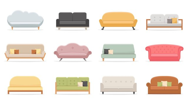 Comfortable sofas. Luxury couch for apartment, comfort sofa models and modern house sofas. Domestic couch furniture, cozy luxury fashion sofas. Flat vector isolated illustration icons set