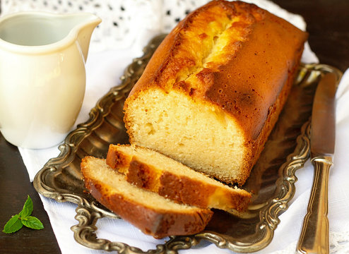 Sweet homemade traditional pound cake with lemon