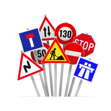 Panneaux routiers Français sur fond blanc