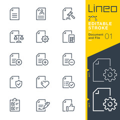 Obraz Lineo Editable Stroke - Document and File line icons - fototapety do salonu