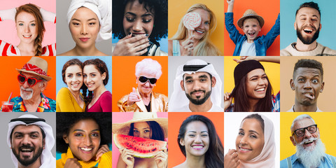 Colored collage with different people and ethnicities. Various people from the world on a unique composition Wall mural