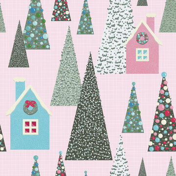 Christmas glitter village seamless pattern. Retro pink, blue and green. Snow scene with decorated trees and whimsical cardboard houses. Perfect for gift wrapping paper, tree skirts and holiday cards.