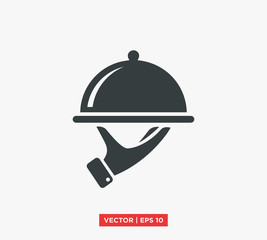 Food Tray on the Hand / Waiters Serving Icon Vector Illustration