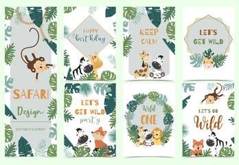 Green,gold animal collection of safari background set with lion,fox,giraffe,zebra,geometric vector illustration for birthday invitation,postcard,logo and sticker.Wording include wild one,wild and free Fotoväggar