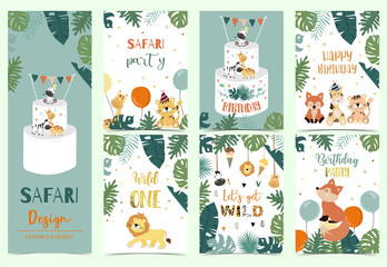 Wall Mural - Green,gold animal collection of safari background set with lion,fox,giraffe,zebra,geometric vector illustration for birthday invitation,postcard,logo and sticker.Wording include wild one,wild and free