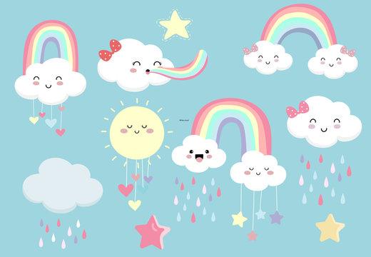 Pastel rainbow set with cloud,sun,star,heart illustration for sticker,postcard,birthday invitation.Editable element