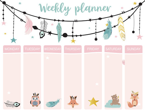 cute weekly planner background with boho,fox,bear,feather.Vector illustration for kid and baby.Editable element