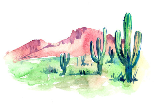 Desert of South America. Watercolor illustration