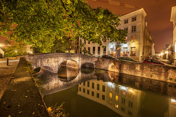 Nocturnal view of a canal in Bruges.