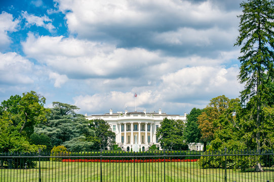 Scenic summer view of the South Lawn with the iconic portico of the White House in Washington DC, USA