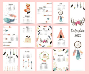Doodle pastel boho calendar set 2020 with feather,fox,arrow,wild,dreamcatcher for children.Can be used for printable graphic.Editable element