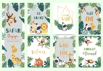 Green collection of safari background set with lion,monkey,giraffe,zebra,geometric vector illustration for birthday invitation,postcard,logo and sticker.Wording include wild one,wild and free