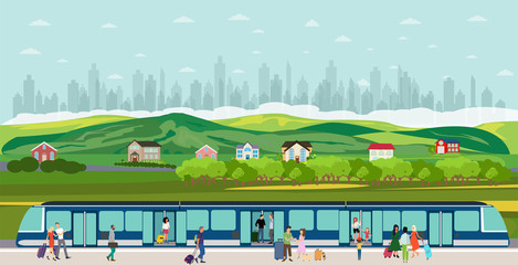 Vector of people boarding the train at the railway station in the suburb of the city Wall mural