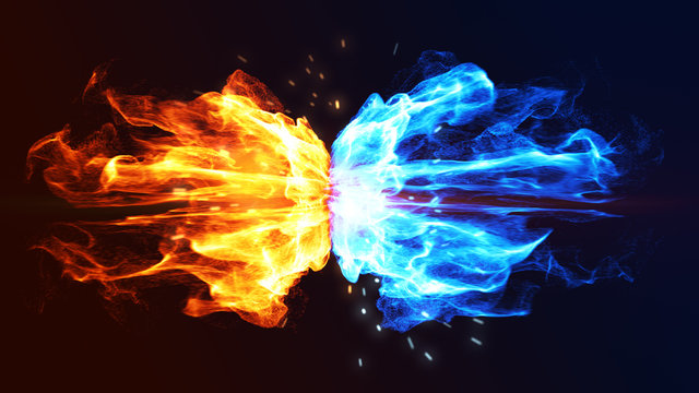 Fire and Ice Concept Design with spark. 3d illustration.