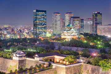 Wall Mural - Osaka, Japan skyline at Osaka Castle Park.