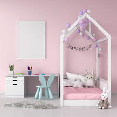 Blank photo frame on wall for mockup in pink child room, 3D rendering