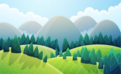 Mountains landscape with light green rounded hills and stylized pine trees. Summer scenery with green colors. Vector illustration background. Fotoväggar