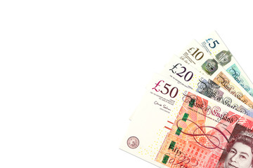 some pound sterling banknotes with copyspace