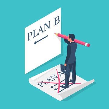 Plan A failed go to B. Businessman passes to second plan. Vector illustration isometric 3d design. Isolated on background. Success solution. Alternative idea.