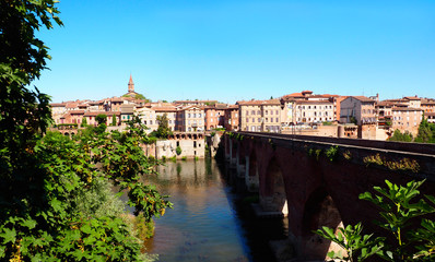 view of Pont-Vieux (Old Bridge) on the river Tarn in Albi in Occitanie (South of France)
