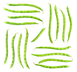 Isolated bean pods. Collection of raw green beans (haricots) isolated on white background with clipping path