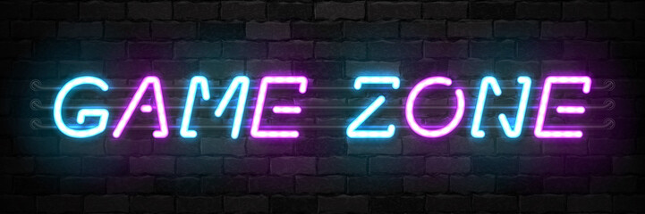 Vector realistic isolated neon sign of Game Zone typography logo for template and layout on the wall background. Concept of gaming.