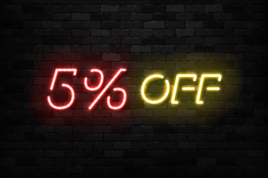 Vector realistic isolated neon sign of Neon Sale Discount 5 Percent logo for template decoration on the wall background. Concept of Black Friday and winter holidays.