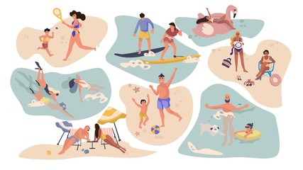 People beach activities. Cartoon characters on summer vacation, surfing swimming sunbathing outdoor scenes. Vector isolated flat illustration activity male, female with kids on water recreation