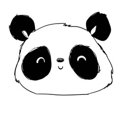 Hand drawn cute panda vector illustration. Design print for t-shirt.
