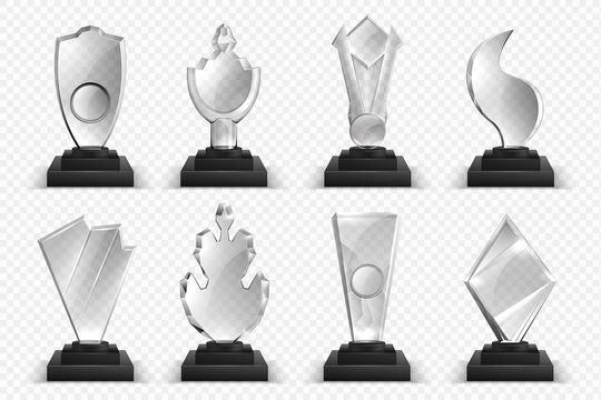 Transparent trophies. Realistic glass crystal awards, winner prizes stars and cups, 3D championship award collection. Vector illustration isolated set blank acrylic board on black base