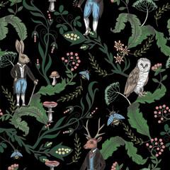 Bajkowy graficzny wzór z leśnych zwierząt i kwiatów. - 285814412