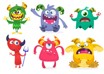 Funny cartoon monsters set. Halloween vector illustration