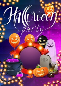 Halloween party, beautiful modern poster layout ready to print with Ghost, Jack pumpkin, balloons,tombstone, garland, witch's cauldron and potion.