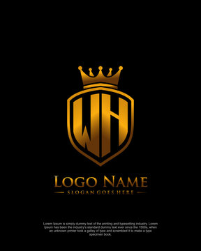 Initial WH letter with shield style logo template vector