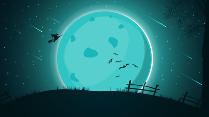 Halloween background, night landscape with big full moon, starry sky with beautiful Starfall and witch silhouette flying over the hill.