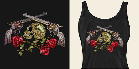Embroidery skull, crossed guns and roses. Trendy apparel design. Template for fashionable clothes, textile, modern print for t-shirts