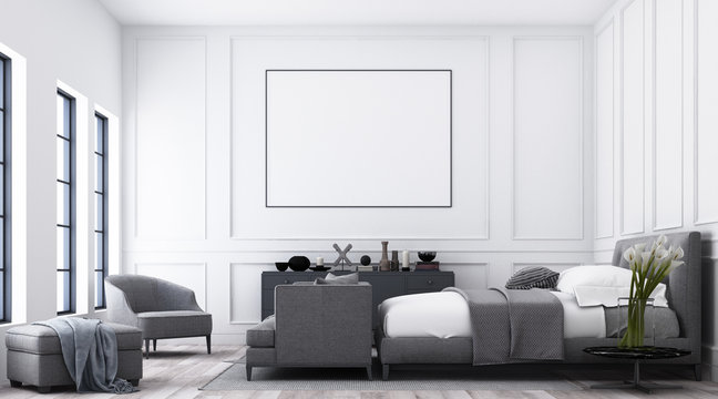 Modern luxury bedroom with white classic pattern wall and grey furniture tone and frame artwork. 3d render