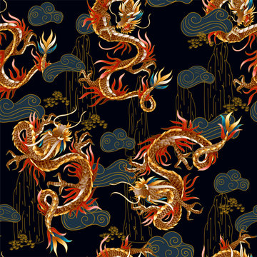Seamless pattern with Chinese traditional dragon. vector.