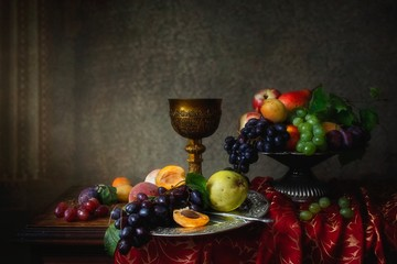 Still life with fruits in Baroque style