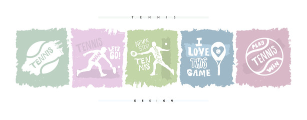 Collection of hand-drawing illustrations for tennis. Sports prints for banners, posters, clothes. Sketch, grunge style, lettering, motivation, slogan.