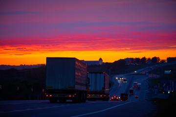 Foto auf AluDibond Nacht-Autobahn road