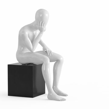 A white mannequin sits on a black box with his elbows facing his hand.rendering on a white background